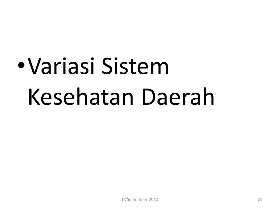Variasi Sistem Kesehatan Daerah 2318 September 2010