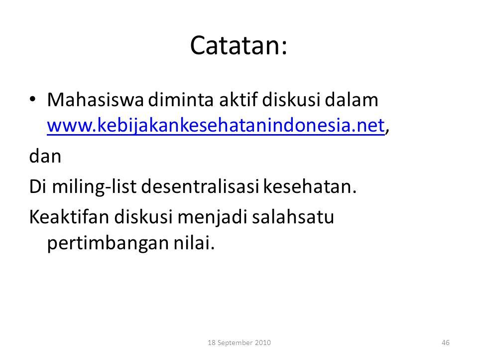 Catatan: Mahasiswa diminta aktif diskusi dalam www.kebijakankesehatanindonesia.net, www.kebijakankesehatanindonesia.net dan Di miling-list desentralis
