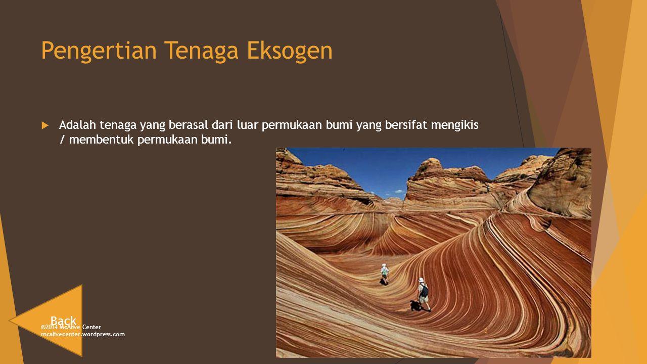 Pengertian Tenaga Eksogen  Adalah tenaga yang berasal dari luar permukaan bumi yang bersifat mengikis / membentuk permukaan bumi.