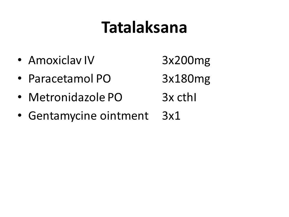 Tatalaksana Amoxiclav IV3x200mg Paracetamol PO3x180mg Metronidazole PO3x cthI Gentamycine ointment3x1