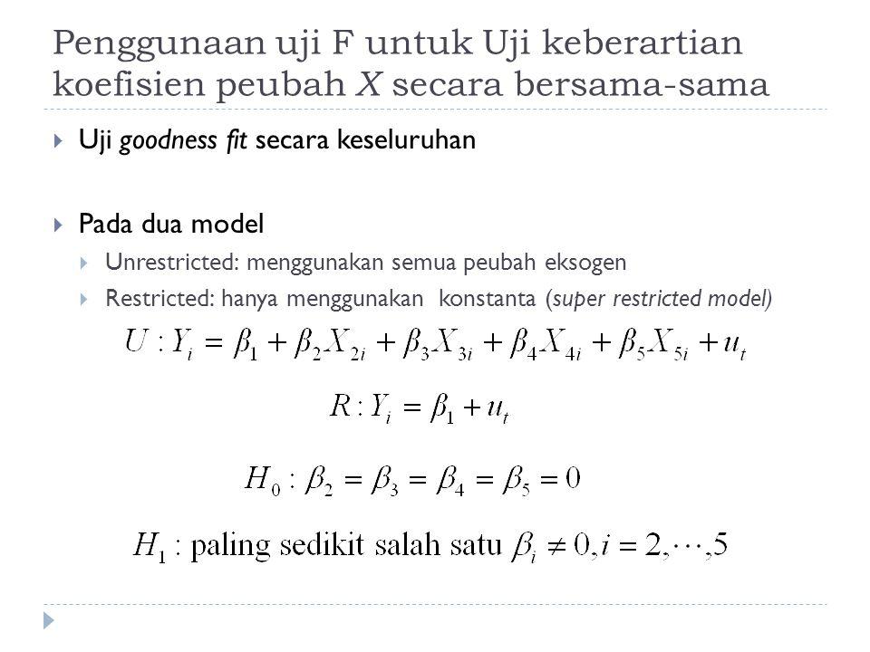Penggunaan uji F untuk Uji keberartian koefisien peubah X secara bersama-sama  Uji goodness fit secara keseluruhan  Pada dua model  Unrestricted: m