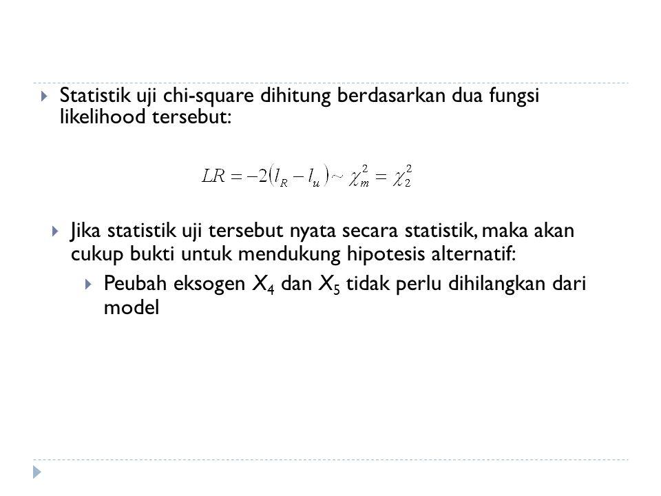  Statistik uji chi-square dihitung berdasarkan dua fungsi likelihood tersebut:  Jika statistik uji tersebut nyata secara statistik, maka akan cukup