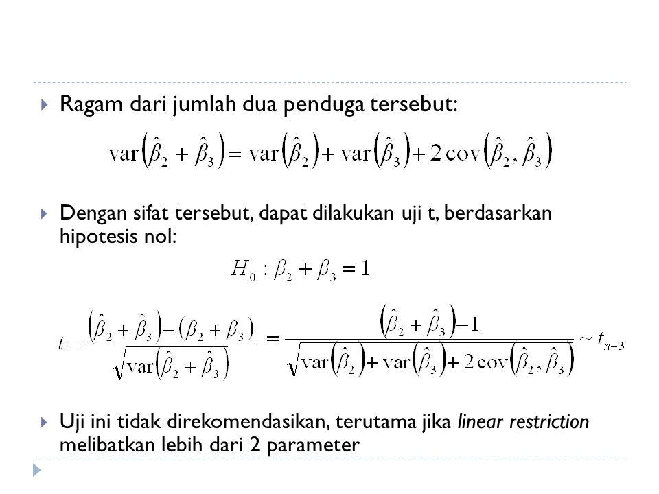  Ragam dari jumlah dua penduga tersebut:  Dengan sifat tersebut, dapat dilakukan uji t, berdasarkan hipotesis nol:  Uji ini tidak direkomendasikan,