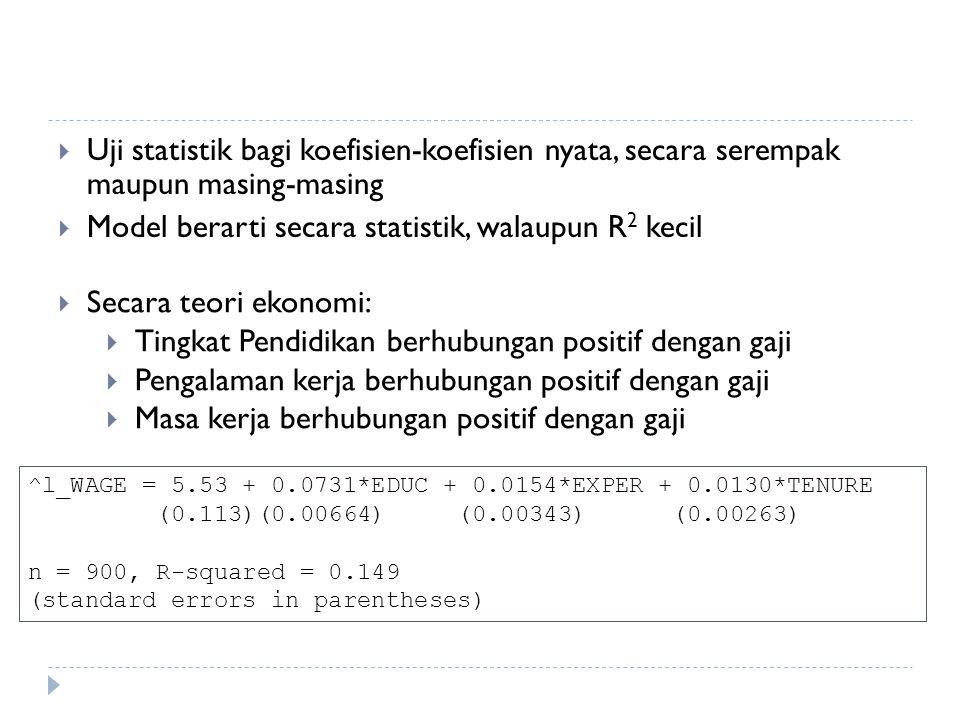  Uji statistik bagi koefisien-koefisien nyata, secara serempak maupun masing-masing  Model berarti secara statistik, walaupun R 2 kecil ^l_WAGE = 5.