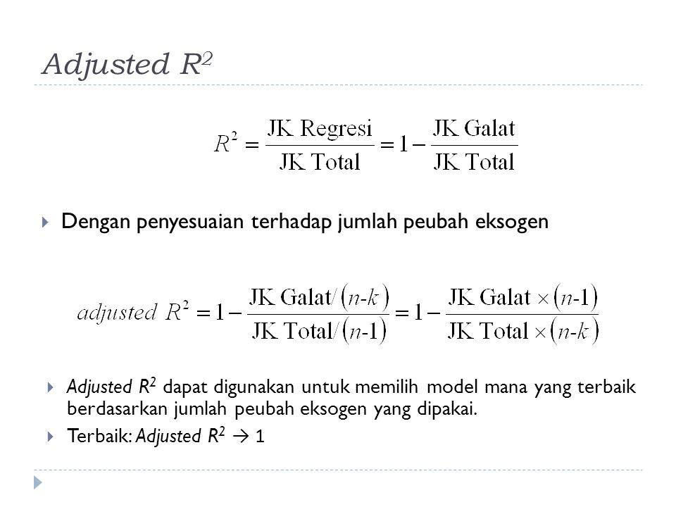 Kriteria lain untuk Pemilihan Model  Beberapa kriteria digunakan, AIC, FPE, SBC, HQC  Semua memberikan penalti terhadap JK Galat:  Semakin banyak peubah eksogen semakin besar penaltinya  Model terbaik (berdasarkan jumlah peubah eksogen) dipilih dari nilai terkecil kriteria-kriteria tersebut.