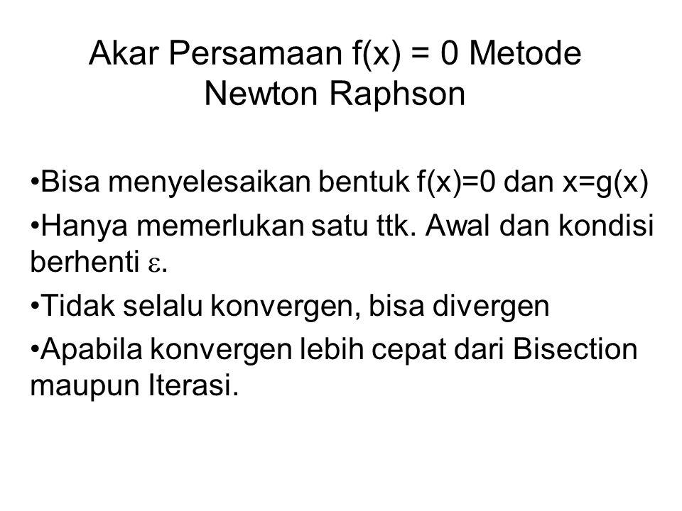 Akar Persamaan f(x) = 0 Metode Newton Raphson Bisa menyelesaikan bentuk f(x)=0 dan x=g(x) Hanya memerlukan satu ttk. Awal dan kondisi berhenti . Tida