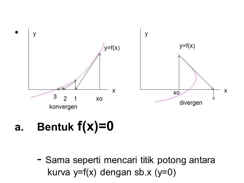 x y=f(x) y x xo12 3 y=f(x) y xo divergen konvergen a.Bentuk f(x)=0 - Sama seperti mencari titik potong antara kurva y=f(x) dengan sb.x (y=0)