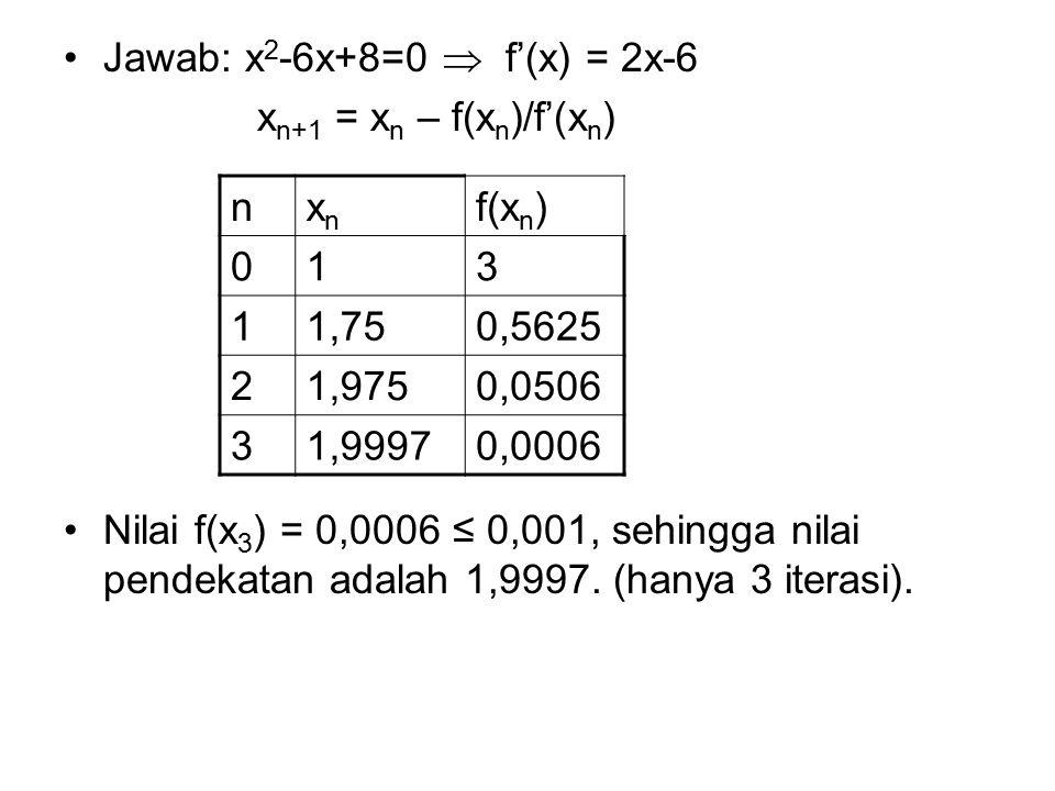 Jawab: x 2 -6x+8=0  f'(x) = 2x-6 x n+1 = x n – f(x n )/f'(x n ) Nilai f(x 3 ) = 0,0006 ≤ 0,001, sehingga nilai pendekatan adalah 1,9997. (hanya 3 ite