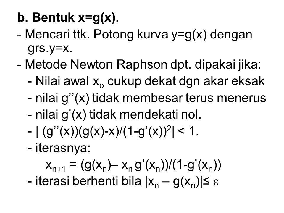 b. Bentuk x=g(x). - Mencari ttk. Potong kurva y=g(x) dengan grs.y=x. - Metode Newton Raphson dpt. dipakai jika: - Nilai awal x o cukup dekat dgn akar