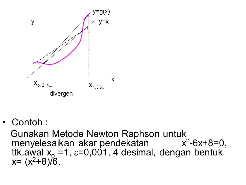 Contoh : Gunakan Metode Newton Raphson untuk menyelesaikan akar pendekatan x 2 -6x+8=0, ttk.awal x o =1,  =0,001, 4 desimal, dengan bentuk x= (x 2 +8)/6.