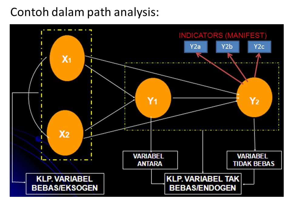 Contoh dalam path analysis: Y2cY2bY2a INDICATORS (MANIFEST)