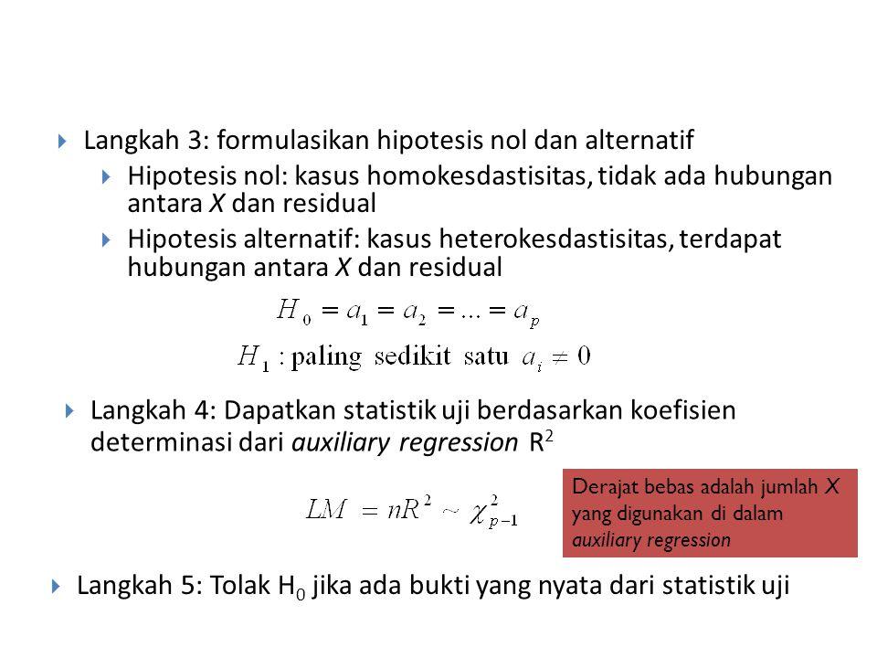 Park LM test Langkah 1: duga model regresi di atas dan dapatkan penduga residualnya  Langkah 2: menduga auxiliary regression berikut di mana peubah b