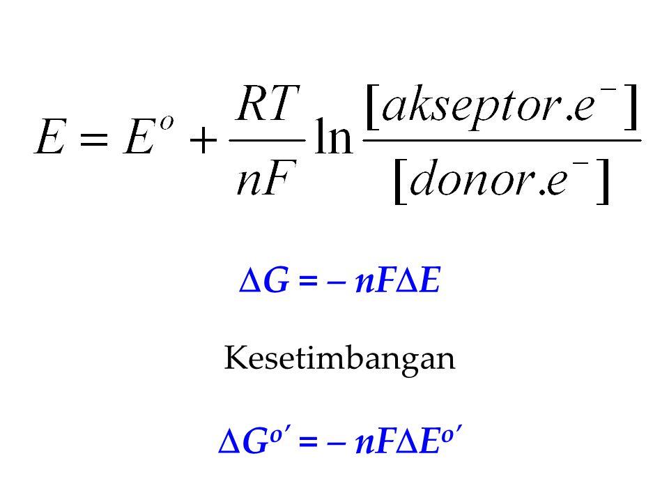  G = – nF  E Kesetimbangan  G o' = – nF  E o'