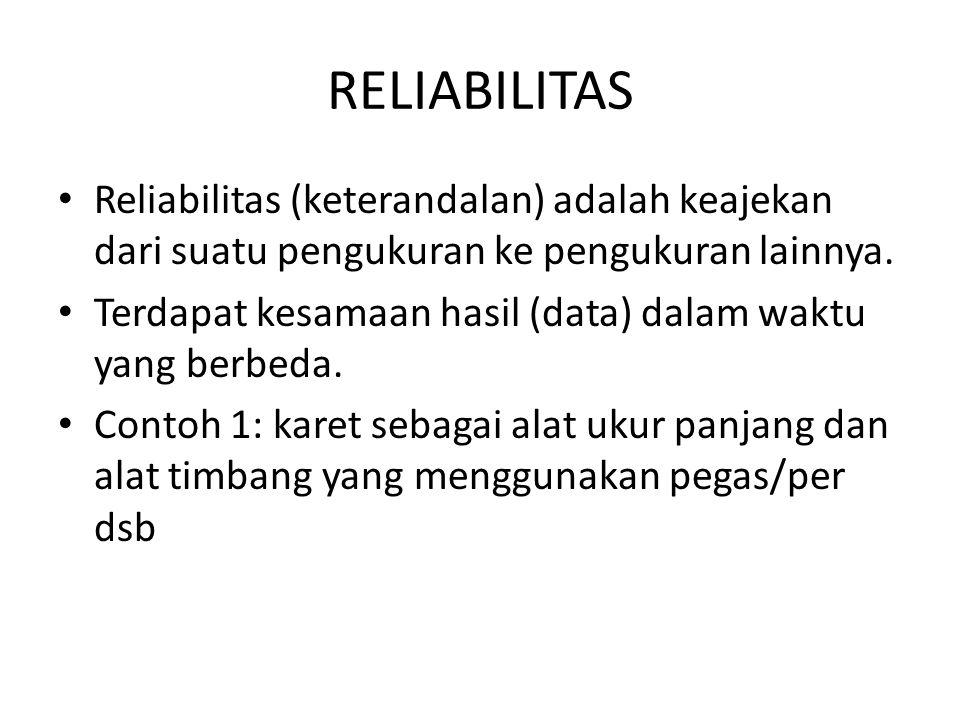 RELIABILITAS Reliabilitas (keterandalan) adalah keajekan dari suatu pengukuran ke pengukuran lainnya. Terdapat kesamaan hasil (data) dalam waktu yang