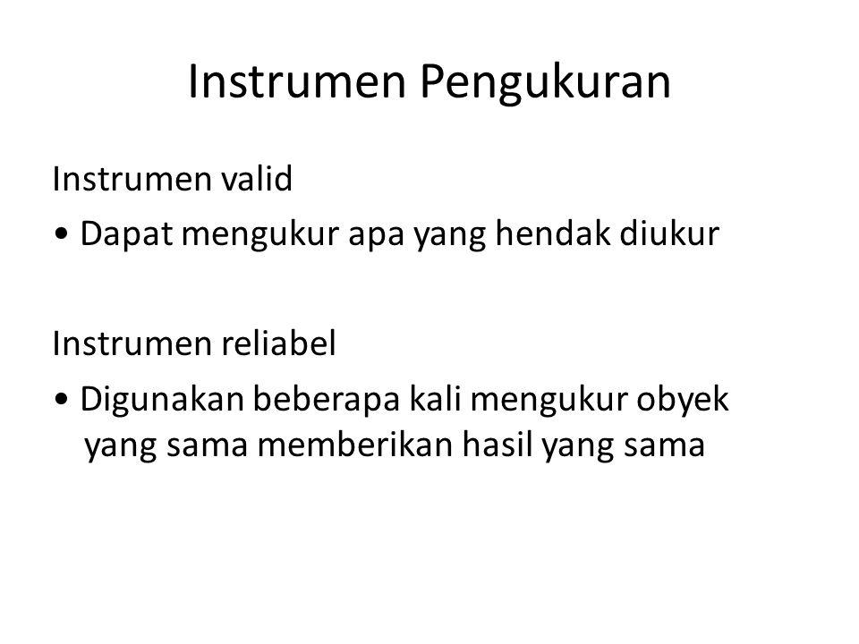 Instrumen Pengukuran Instrumen valid Dapat mengukur apa yang hendak diukur Instrumen reliabel Digunakan beberapa kali mengukur obyek yang sama memberi