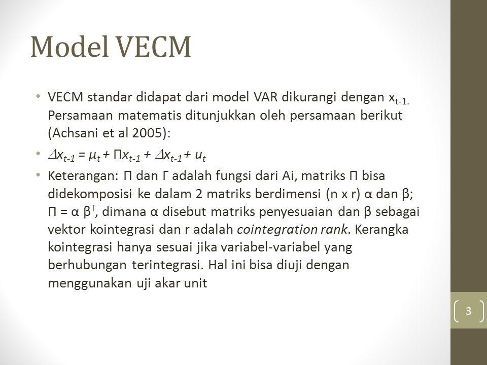 Model VECM VECM standar didapat dari model VAR dikurangi dengan x t-1. Persamaan matematis ditunjukkan oleh persamaan berikut (Achsani et al 2005): 