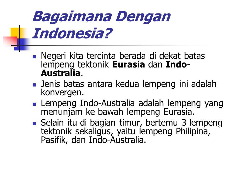 Bagaimana Dengan Indonesia? Negeri kita tercinta berada di dekat batas lempeng tektonik Eurasia dan Indo- Australia. Jenis batas antara kedua lempeng