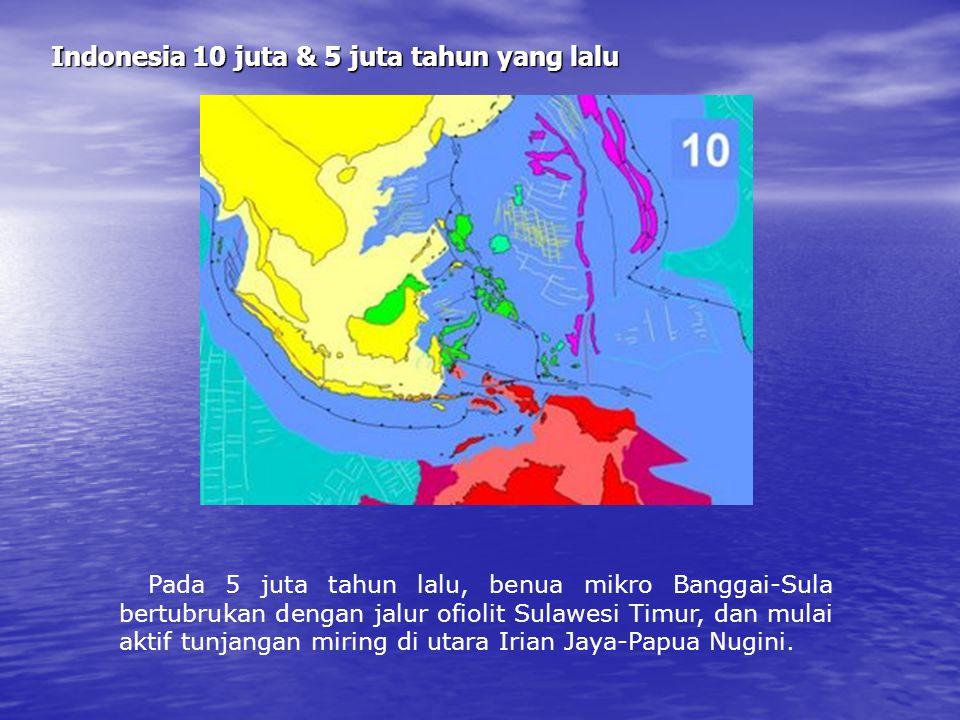 Indonesia 20 juta tahun yang lalu Pada 20 juta tahun lalu, benua mikro Buton bertubrukan dengan jalur Ofiolit di Sulawesi Tenggara, tunjaman ganda ter
