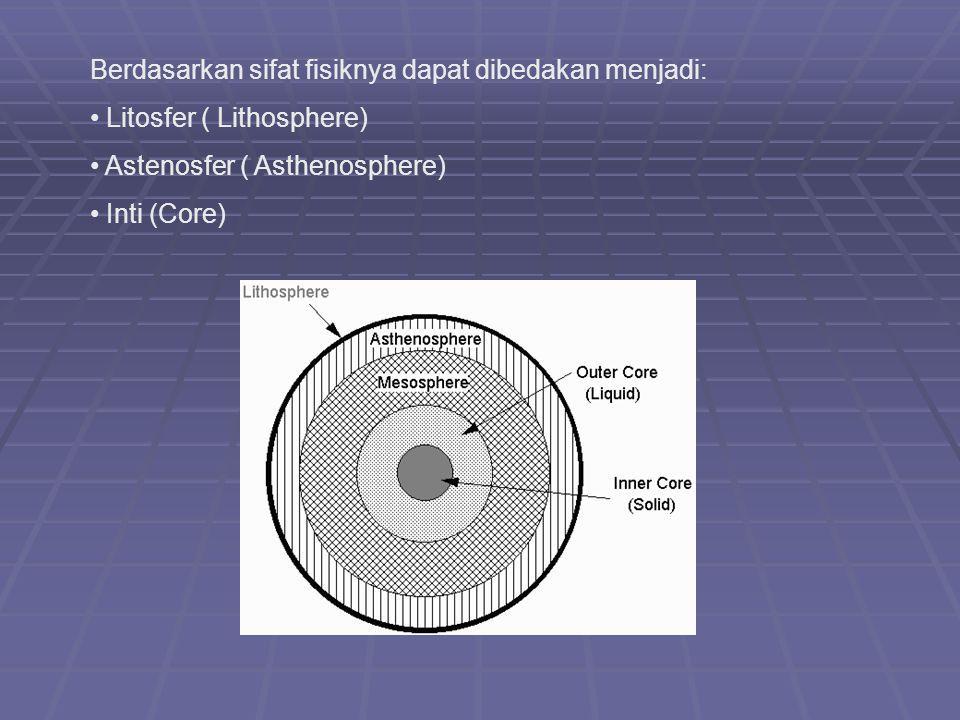 Berdasarkan sifat fisiknya dapat dibedakan menjadi: Litosfer ( Lithosphere) Astenosfer ( Asthenosphere) Inti (Core)