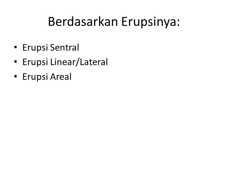 Berdasarkan Erupsinya: Erupsi Sentral Erupsi Linear/Lateral Erupsi Areal