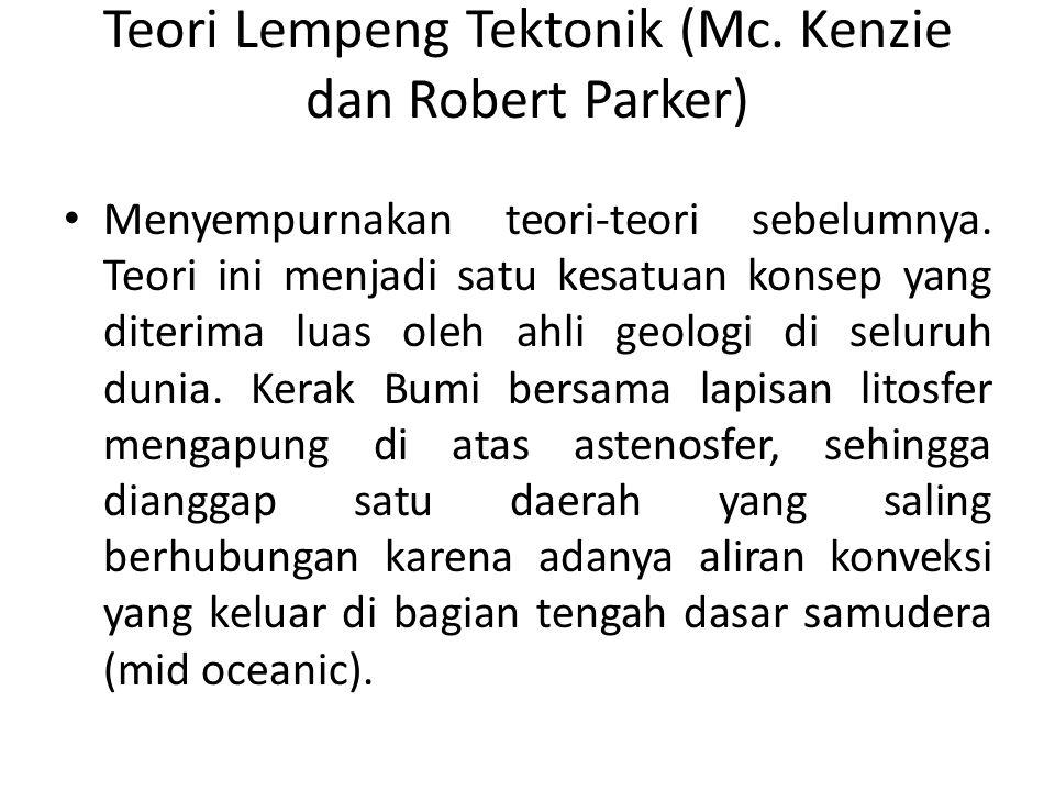 Teori Lempeng Tektonik (Mc. Kenzie dan Robert Parker) Menyempurnakan teori-teori sebelumnya. Teori ini menjadi satu kesatuan konsep yang diterima luas