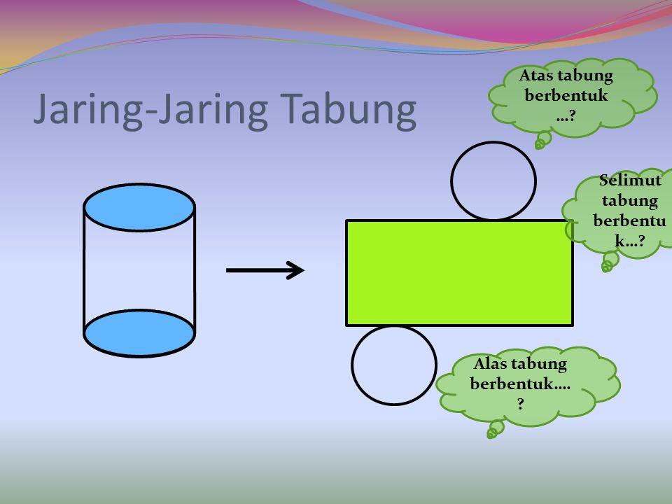 UNSUR-UNSUR TABUNG 1 2 r r t 3 1. jari-jari tabung (r) = 3. Sisi tabung = 2. tinggi tabung (t) = jari-jari lingkaran bidang paralel jarak antara bidan