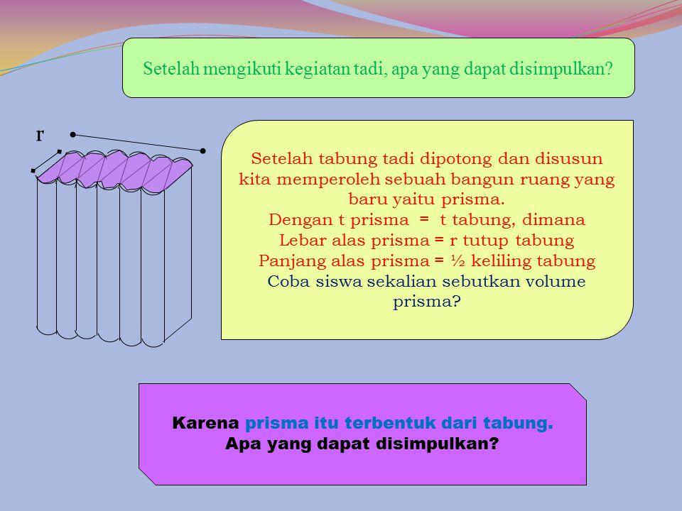 t r rr r 3. Susun hingga membentuk prisma 2. Potonglah tabung menjadi 12 bagian seperti gambar berikut