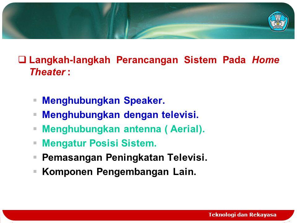 Teknologi dan Rekayasa  Langkah-langkah Perancangan Sistem Pada Home Theater :  Menghubungkan Speaker.  Menghubungkan dengan televisi.  Menghubung