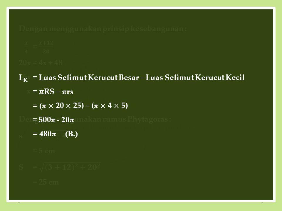 20 cm 4 cm 12 cm x Diketahui: r = 4 cm R= 20 cm t= 12 cm Ditanyakan: Luas Permukaan Kap Lampu (L K ) =...