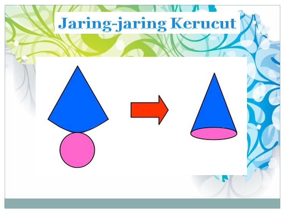 LUAS KERUCUT Selimut kerucut pada gambar (ii) merupakan sebuah juring dengan jari-jari s dan panjang busur B1B2 merupakan keliling lingkaran alas dari kerucut tersebut.