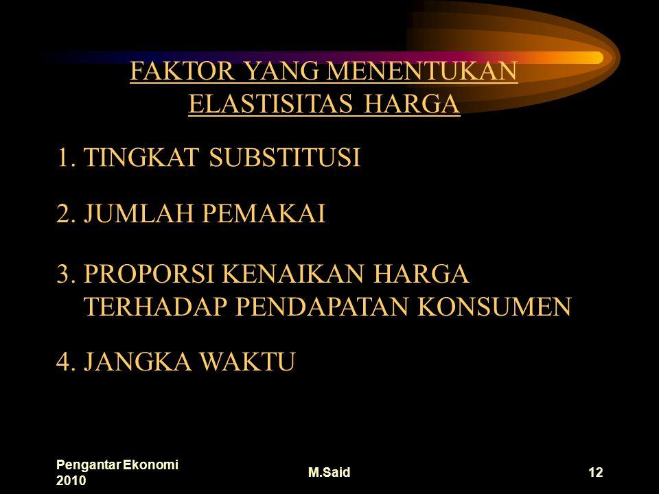 Pengantar Ekonomi 2010 M.Said12 FAKTOR YANG MENENTUKAN ELASTISITAS HARGA 1.