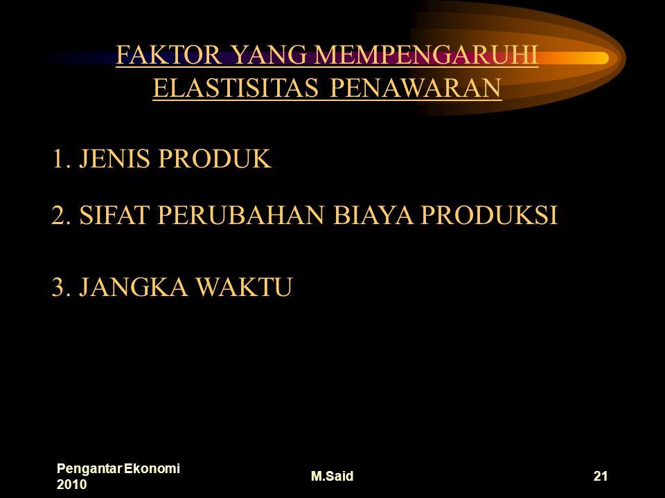 Pengantar Ekonomi 2010 M.Said21 FAKTOR YANG MEMPENGARUHI ELASTISITAS PENAWARAN 1.