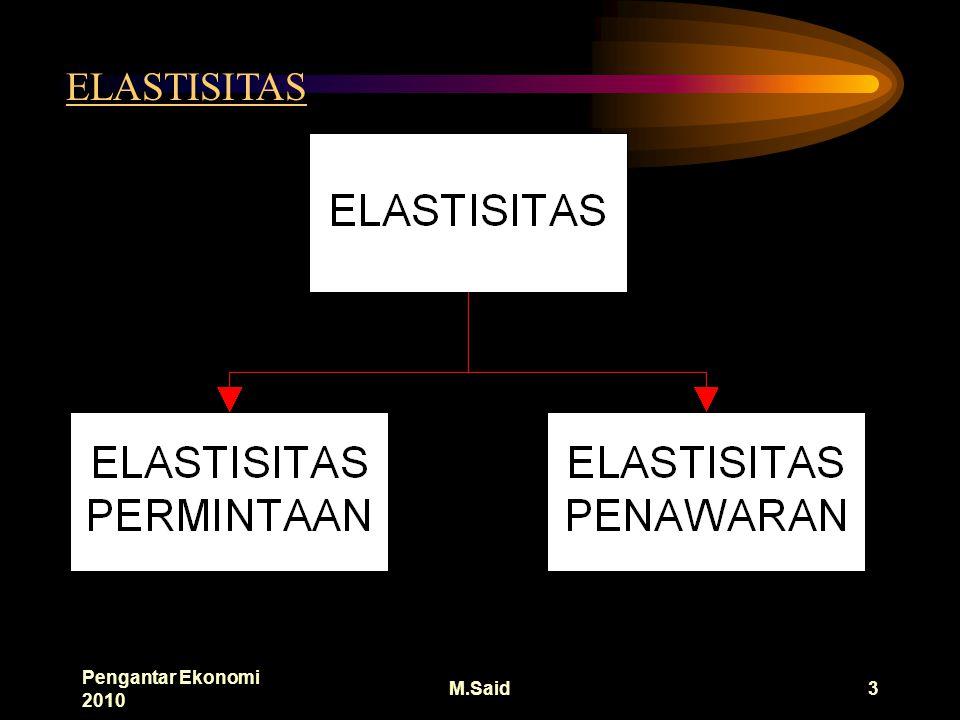 Pengantar Ekonomi 2010 M.Said3 ELASTISITAS