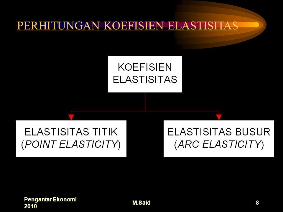 Pengantar Ekonomi 2010 M.Said8 PERHITUNGAN KOEFISIEN ELASTISITAS