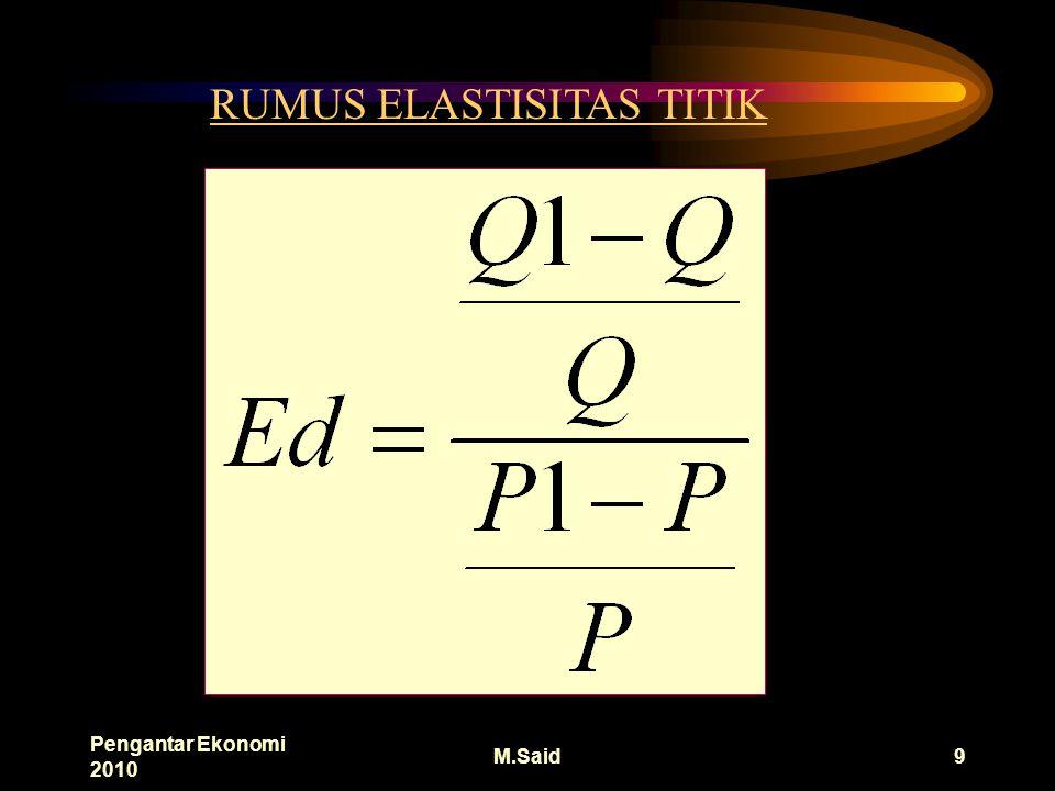 Pengantar Ekonomi 2010 M.Said9 RUMUS ELASTISITAS TITIK