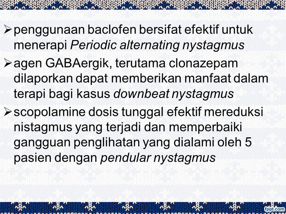  penggunaan baclofen bersifat efektif untuk menerapi Periodic alternating nystagmus  agen GABAergik, terutama clonazepam dilaporkan dapat memberikan