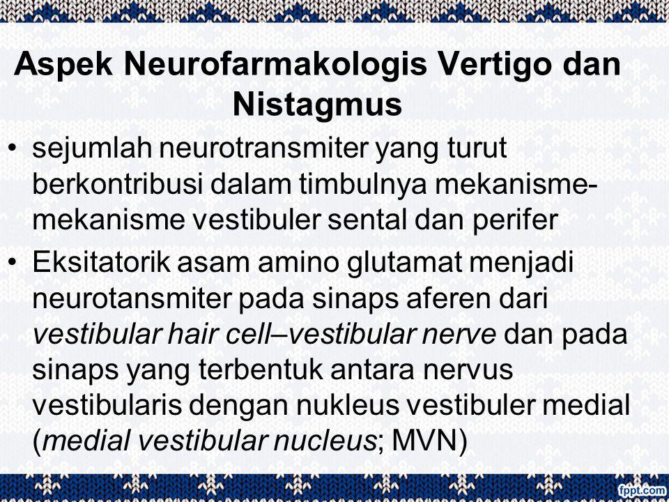 Aspek Neurofarmakologis Vertigo dan Nistagmus sejumlah neurotransmiter yang turut berkontribusi dalam timbulnya mekanisme- mekanisme vestibuler sental
