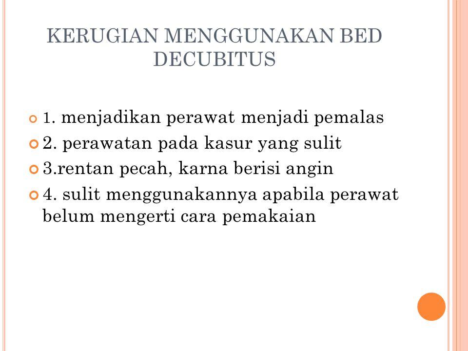 KERUGIAN MENGGUNAKAN BED DECUBITUS 1.menjadikan perawat menjadi pemalas 2.