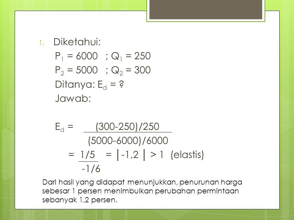 1. Diketahui: P 1 = 6000 ; Q 1 = 250 P 2 = 5000 ; Q 2 = 300 Ditanya: E d = ? Jawab: E d = (300-250)/250 (5000-6000)/6000 = 1/5 = │-1,2 │ > 1 (elastis)