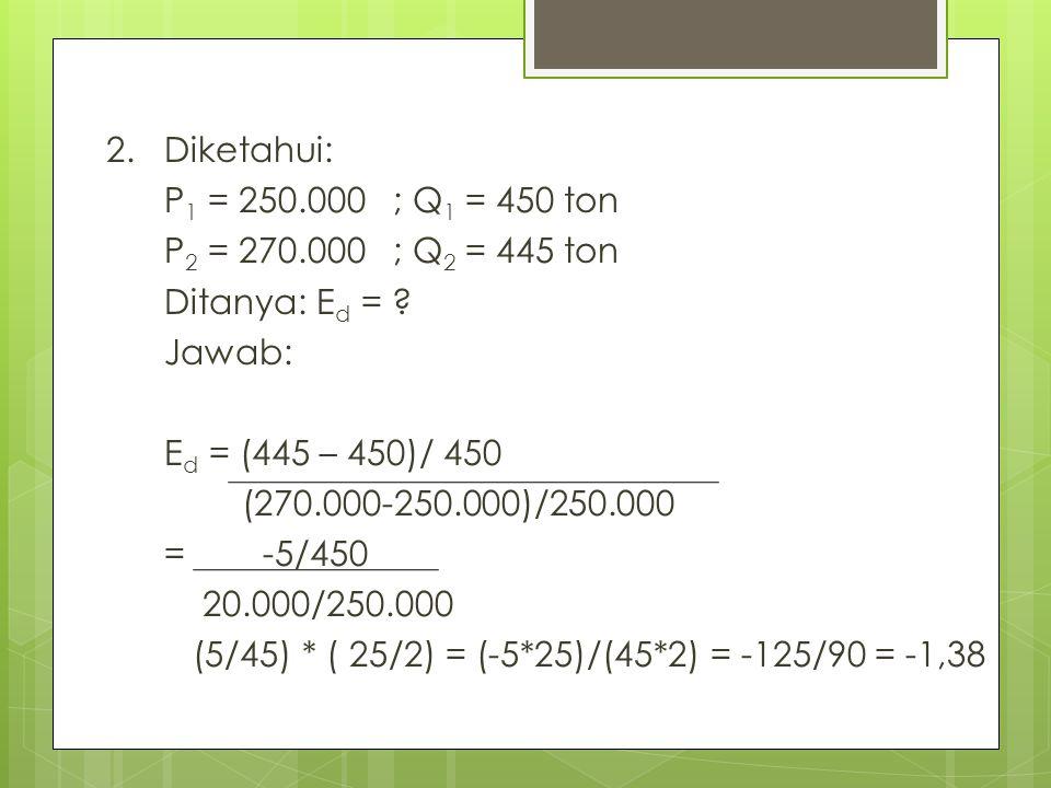 2. Diketahui: P 1 = 250.000 ; Q 1 = 450 ton P 2 = 270.000 ; Q 2 = 445 ton Ditanya: E d = ? Jawab: E d = (445 – 450)/ 450 (270.000-250.000)/250.000 = -