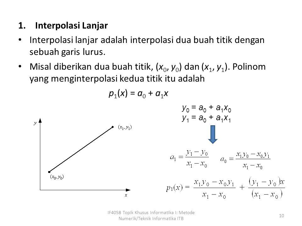 1.Interpolasi Lanjar Interpolasi lanjar adalah interpolasi dua buah titik dengan sebuah garis lurus.
