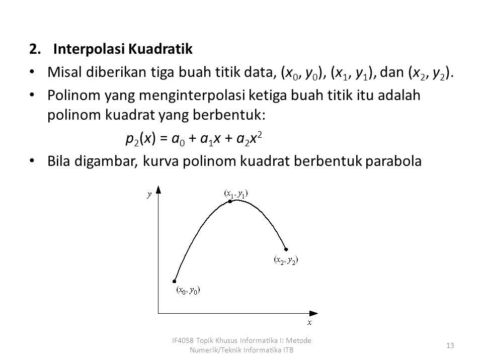 2.Interpolasi Kuadratik Misal diberikan tiga buah titik data, (x 0, y 0 ), (x 1, y 1 ), dan (x 2, y 2 ).