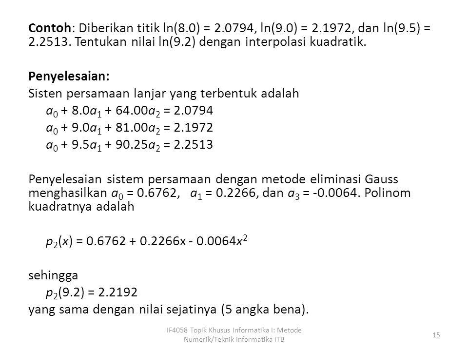 Contoh: Diberikan titik ln(8.0) = 2.0794, ln(9.0) = 2.1972, dan ln(9.5) = 2.2513.