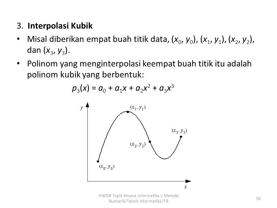 3. Interpolasi Kubik Misal diberikan empat buah titik data, (x 0, y 0 ), (x 1, y 1 ), (x 2, y 2 ), dan (x 3, y 3 ). Polinom yang menginterpolasi keemp