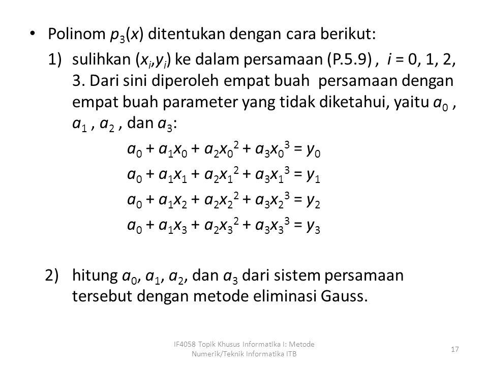 Polinom p 3 (x) ditentukan dengan cara berikut: 1)sulihkan (x i,y i ) ke dalam persamaan (P.5.9), i = 0, 1, 2, 3.