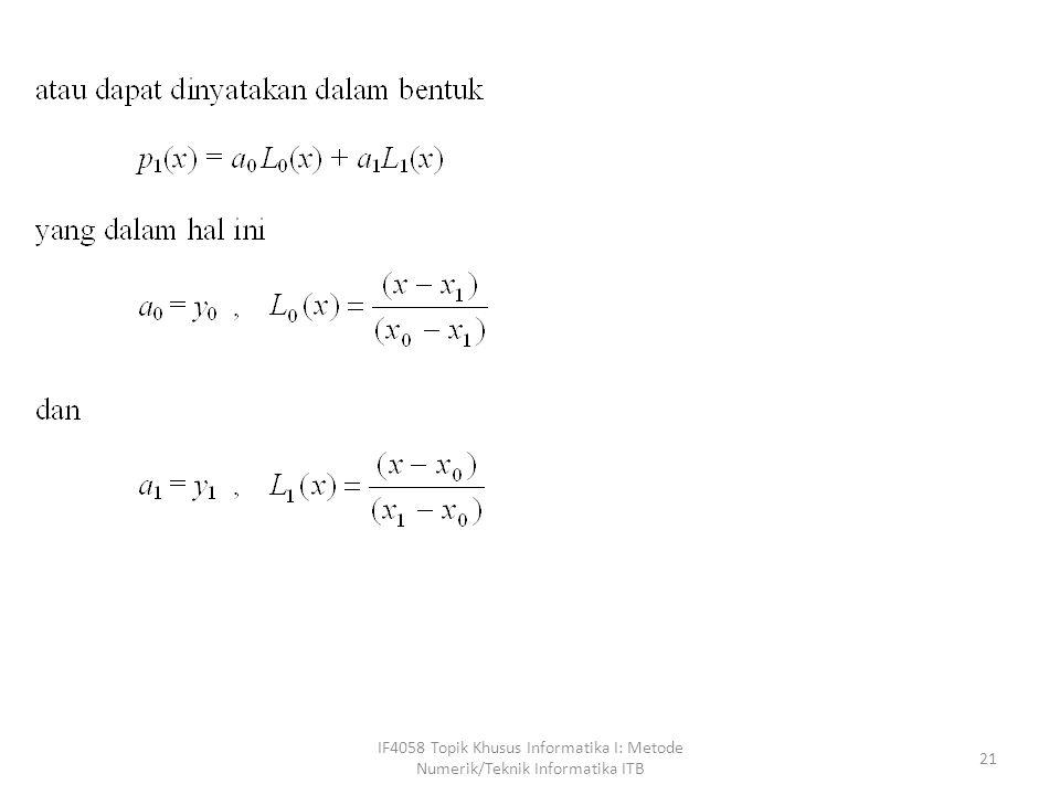 IF4058 Topik Khusus Informatika I: Metode Numerik/Teknik Informatika ITB 21