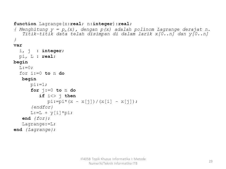 function Lagrange(x:real; n:integer):real; { Menghitung y = p n (x), dengan p(x) adalah polinom Lagrange derajat n.