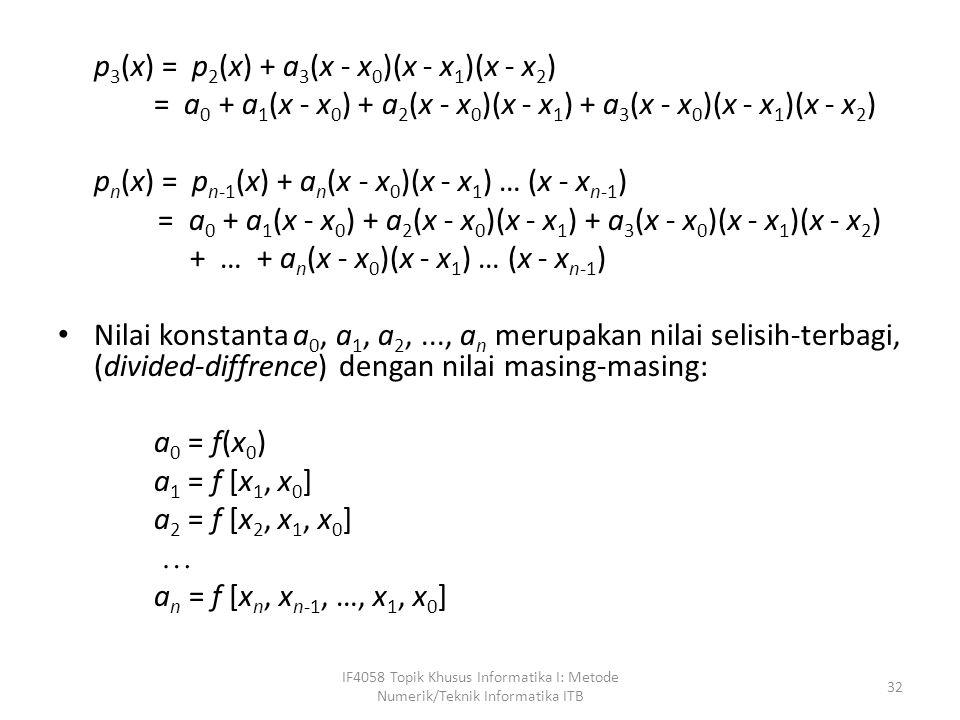 p 3 (x) = p 2 (x) + a 3 (x - x 0 )(x - x 1 )(x - x 2 ) = a 0 + a 1 (x - x 0 ) + a 2 (x - x 0 )(x - x 1 ) + a 3 (x - x 0 )(x - x 1 )(x - x 2 ) p n (x) = p n-1 (x) + a n (x - x 0 )(x - x 1 ) … (x - x n-1 ) = a 0 + a 1 (x - x 0 ) + a 2 (x - x 0 )(x - x 1 ) + a 3 (x - x 0 )(x - x 1 )(x - x 2 ) + … + a n (x - x 0 )(x - x 1 ) … (x - x n-1 ) Nilai konstanta a 0, a 1, a 2,..., a n merupakan nilai selisih-terbagi, (divided-diffrence) dengan nilai masing-masing: a 0 = f(x 0 ) a 1 = f [x 1, x 0 ] a 2 = f [x 2, x 1, x 0 ]  a n = f [x n, x n-1, …, x 1, x 0 ] IF4058 Topik Khusus Informatika I: Metode Numerik/Teknik Informatika ITB 32