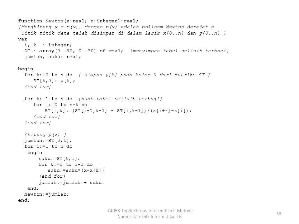 function Newton(x:real; n:integer):real; {Menghitung y = p(x), dengan p(x) adalah polinom Newton derajat n.