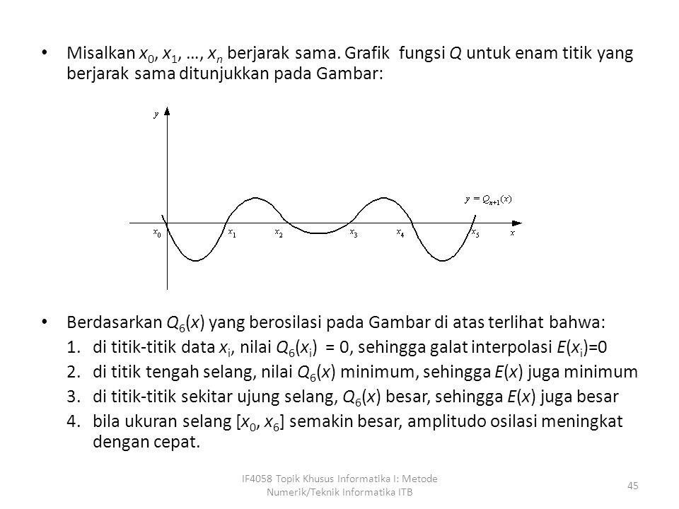 Misalkan x 0, x 1, …, x n berjarak sama.